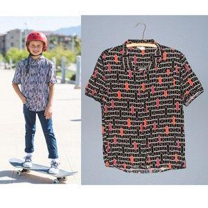 LULAROE Skateboard Print THOR Button-Up Shirt 14